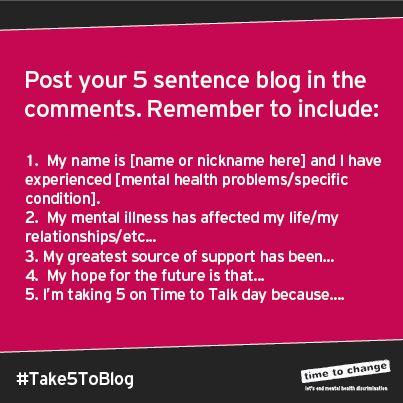 Nobody Said It Was Easy: #TimeToTalk Day - #Take5ToBlog
