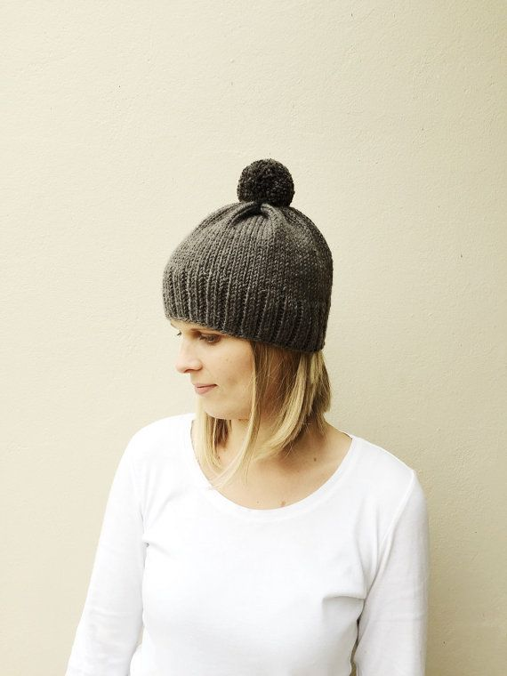Gray Knit Hat with Pom Pom Fall Winter hat Natural by VeraJayne