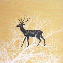 Deer & Tree Plywood Print (Square Yellow)