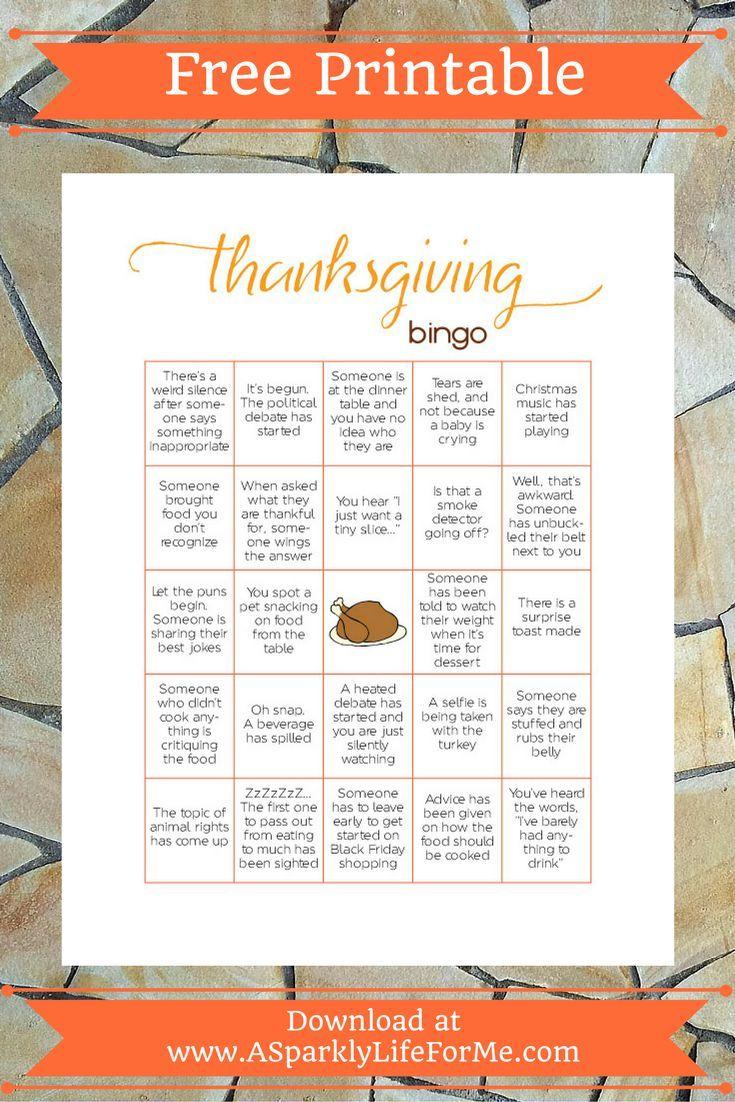 Free Thanksgiving Bingo Game Printable for Adults