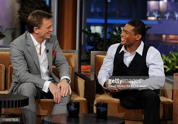 Actor Daniel Craig and NCAA wrestler Anthony Robles appear on The Tonight Show with Jay Leno at the NBC Studios on July 20 2011 in Burbank California