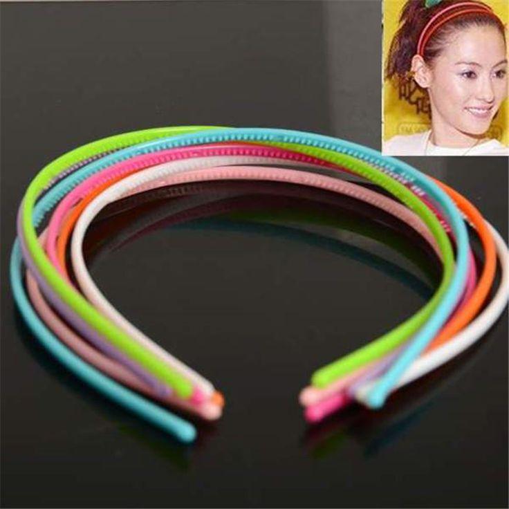 Hỗn hợp 50 cái 4 mét nhựa răng lady girl headband hairband alice ban nhạc trẻ em phụ kiện tóc candy color bán buôn