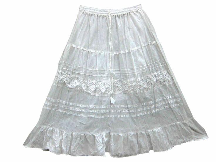 Cool Summer Cotton Skirt Gypsy Designer Lace Work Girl Skirt's