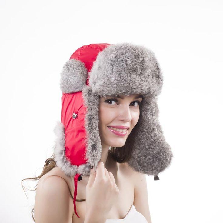 New Winter bomber Rabbit Fur Hats For Women Windproof Warm Hats Motorcycle Flight Ear Protection Cap