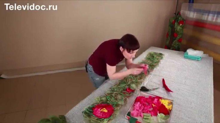 МК валяние шарфа крейзи цветы