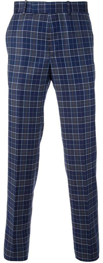€425, Pantalón de Vestir de Tartán Azul de Alexander McQueen. De farfetch.com. Detalles: https://lookastic.com/men/shop_items/135926/redirect