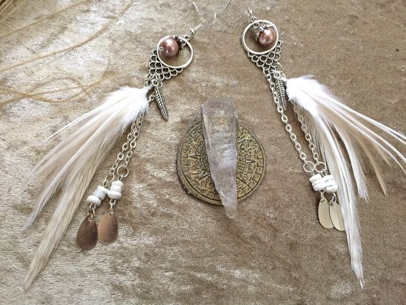 Dreamy white and shell feathered earrings with by nateahstudios