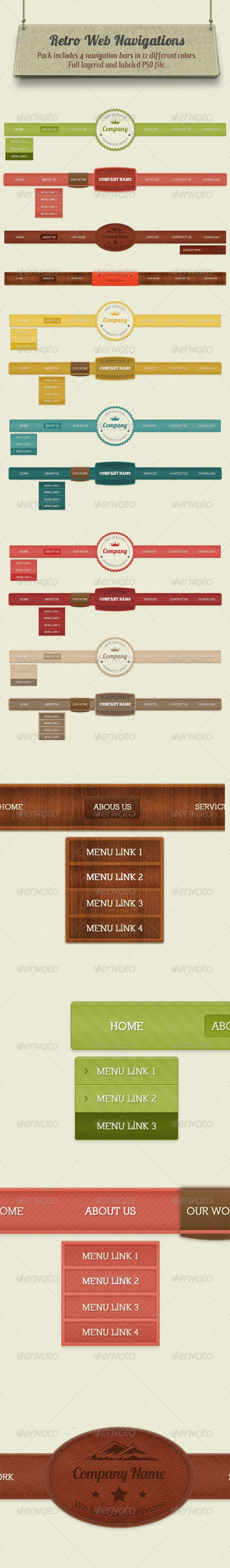 Retro Navigation Bars - Navigation Bars Web Elements