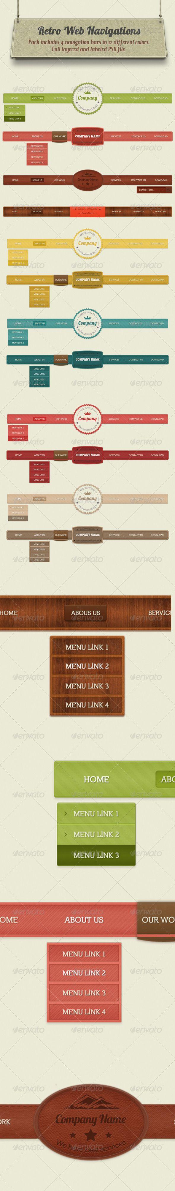 Retro Navigation Bars - Navigation Bars Web Elements