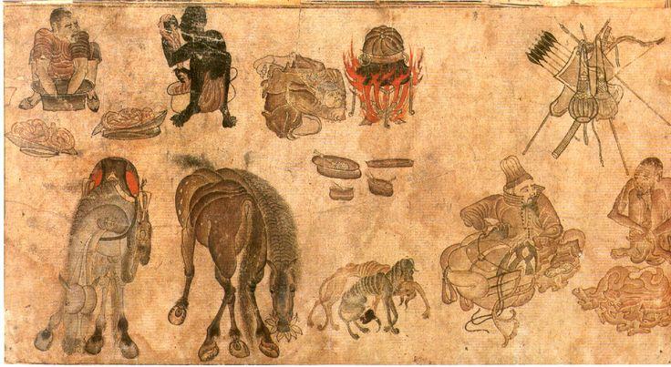 Nomad Camp Siyah Qalem drawing. From the Sarai Albums. Turkestan, beginning of 15th century