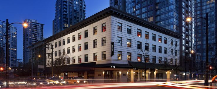 Vancouver - Moda  A boutique-style hotel in a heritage building with modern design. Rooms are decorated with quality furniture and bedding. Right downtown with a wine bar and restaurant. Moda is pet-friendly.