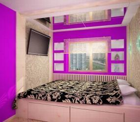 Узкая спальня в хрущовке
