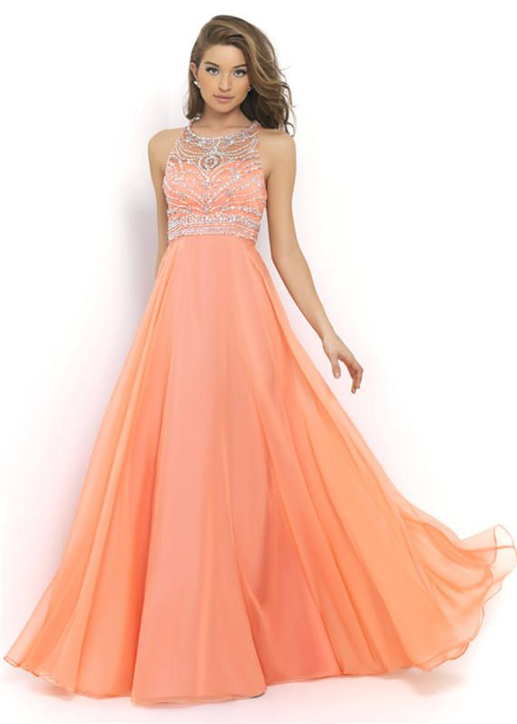 Blush 10001 Coral Sparkly Beading Long Prom Dresses Sale
