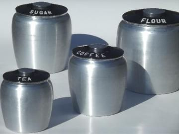 Vintage Kromex Spun Aluminum Canister Set, Retro Kitchen Canisters