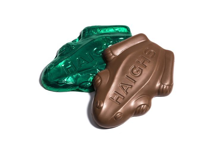 The iconic Haigh's chocolate frog! The Peppermint Frog is available in three sizes online and instore.