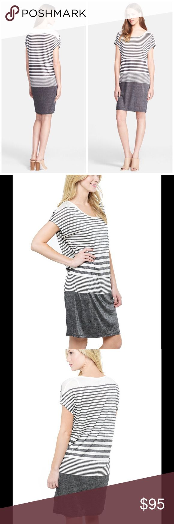 🆕 Vince variegated stripe tee shirt dress Heathered stripes visually structure a curve-skimming T-shirt dress, dividing the short-sleeve bodice from the solid-color straight skirt. - Scoop neck - Short sleeves - Variegated stripe - Imported Fiber Content Self: 80% rayon, 20% polyester Lining: 100% viscose Brand new with tag. Retail price $225. Vince Dresses