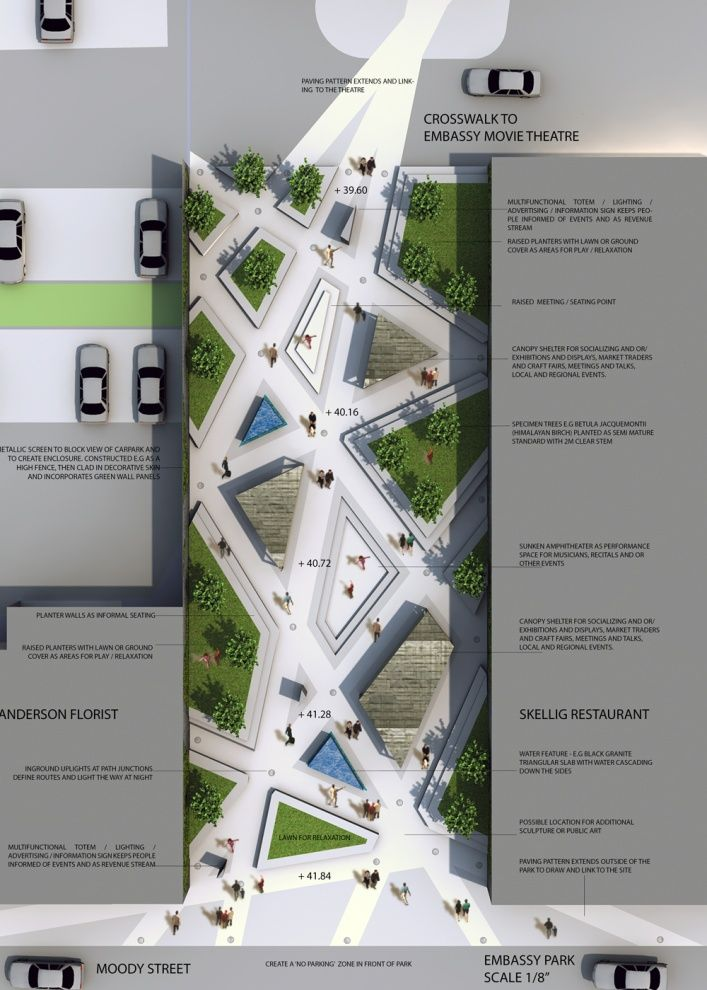 A bit too corporate and bland looking for an info board- I want the final design to be really clear and eye catching and have a bit more colour in it than this (or colour used more effectively)  Embassy Park Design Competition - tech drawing / plan