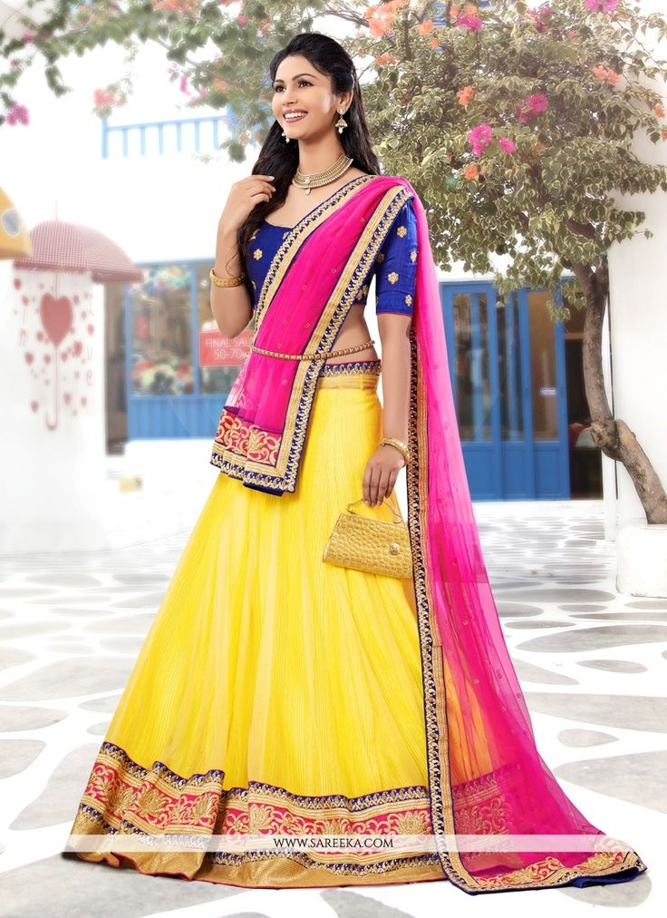 Elegant yellow chiffon and net lehenga choli with embroidery, resham, zari, lace and patch border work. As shown an matching choli and net dupatta comes with this.(Slight variation in actual color is ...
