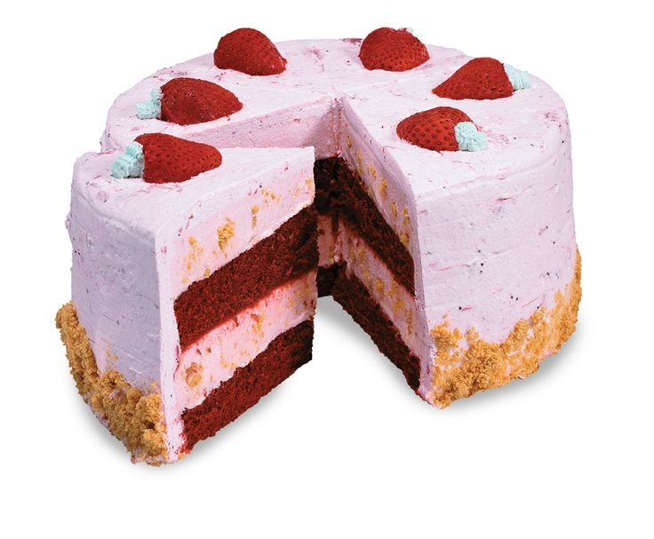 Strawberry Passion Cold Stone Creamery Signature Cake - Ingredients: Layers of moist Red Velvet Cake, Strawberry Puree and Strawberry Ice Cream with Graham Cracker Pie Crust wrapped in fluffy Strawberry Frosting