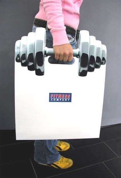 Barbell shopping bag for a Fitness Company