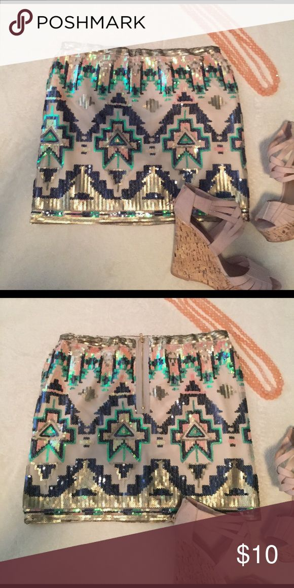 Aztec sequins skirt Spring colored sequins skirt. Size M but fits more like a Small. No stains or rips in good condition Skirts