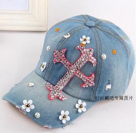 2014 new Retail Diamond Point Crosses cowboy denim caps women baseball cap unisex Hat rhinestone print