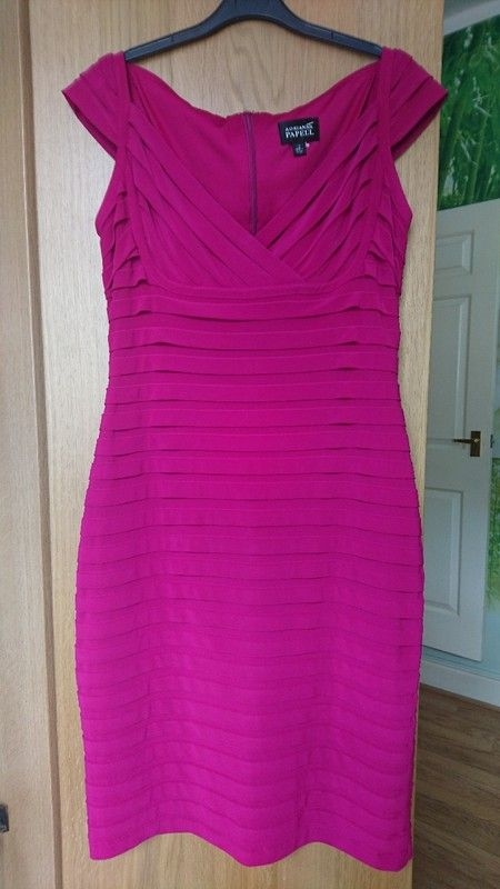 Arianna Papell cerise pink evening party bodycon dress UK 12-14