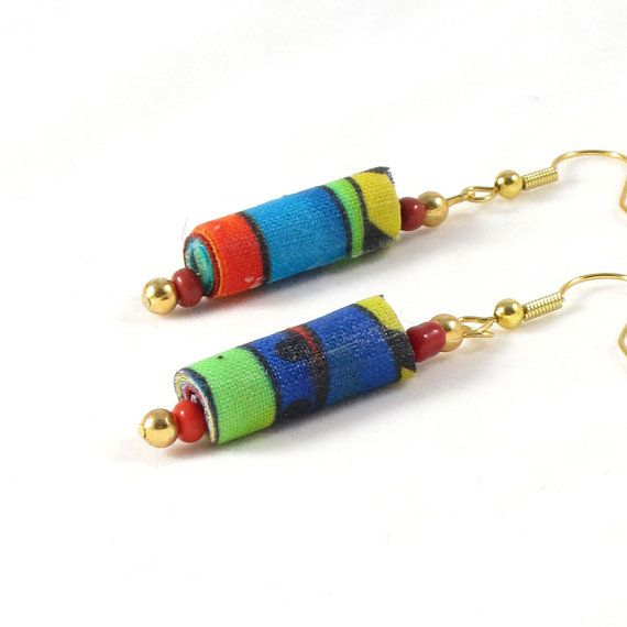 Fiber Earrings Textile Earrings Gift for Her Fabric Earrings Drop Earrings Dangle Earrings Turquoise Yellow Orange Green Multicolored OOAK