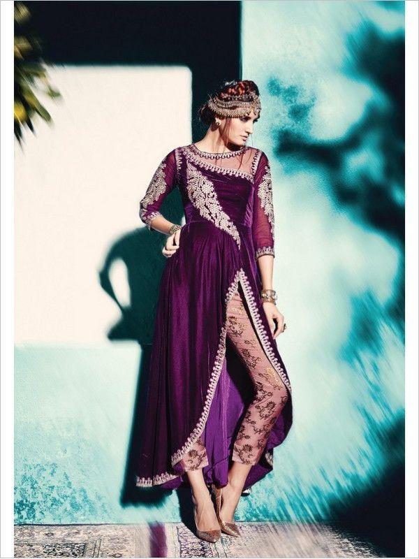 Purple Party Wear Velvet Suit