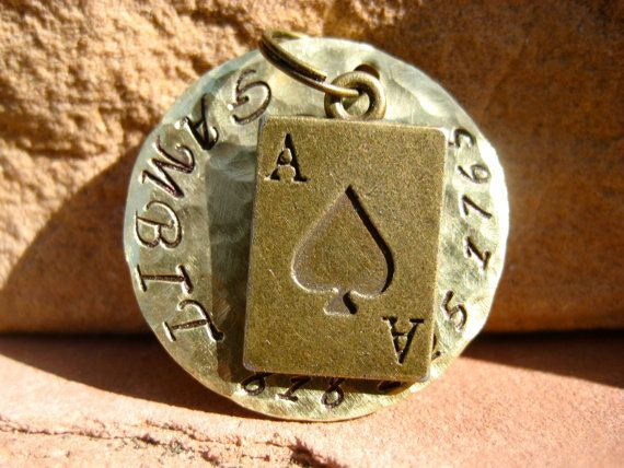 The Gambit 021 Unique Handstamped Ace of Spades Pet by MODPawed  Dog Dogs Cat Cats Kitten Kittens Puppy Puppies Tag Love Animal Unique Handmade