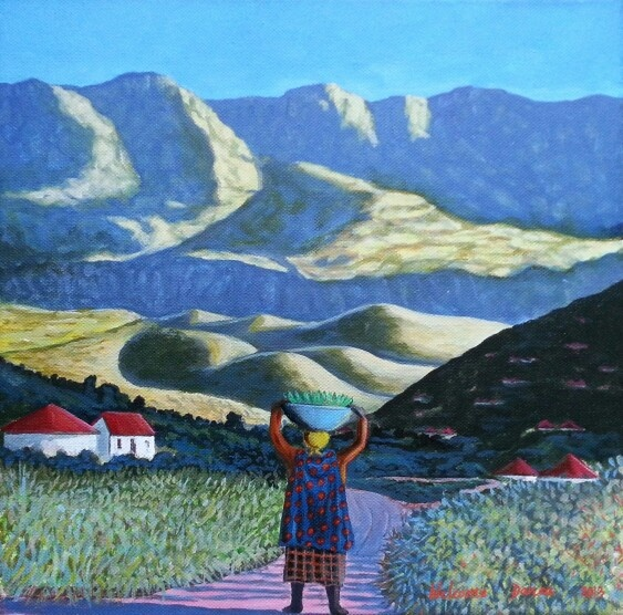 Welcome Danca / acrylic on canvas / 30 x 30 / capturing africa in all its glory