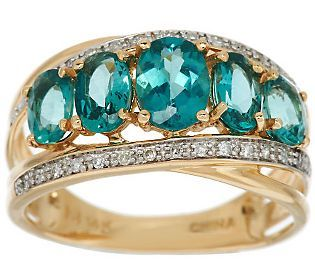 This would be very pretty as an alternative style wedding band for someone having a teal, aqua, or peacock feather themed wedding. 1.80 ct tw Teal Apatite & 1/10 ct tw Diamond Ring, 14K