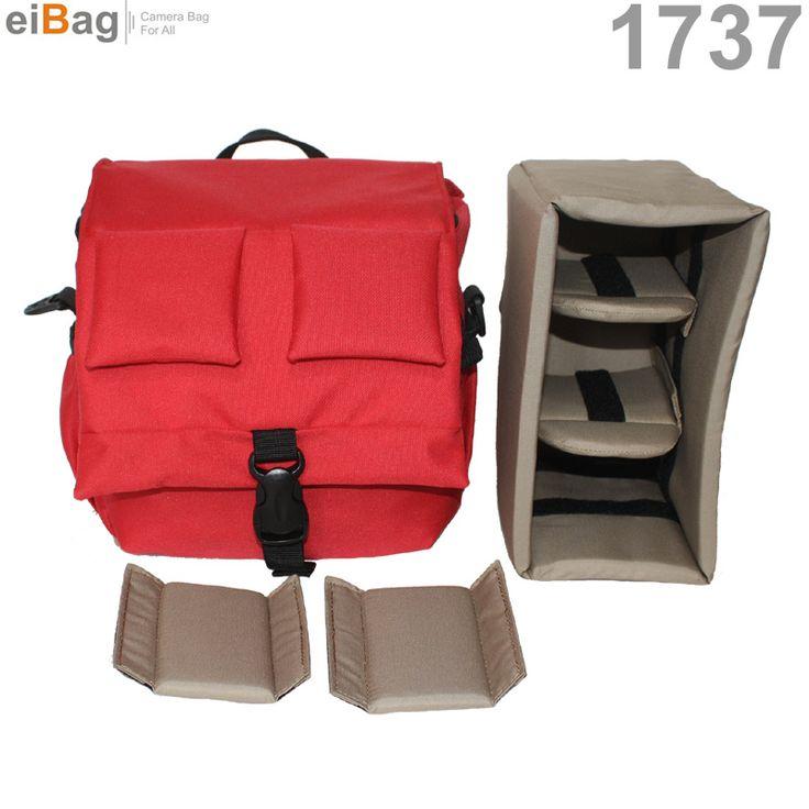 EIBAG 1737 Merah - Tas kamera DSLR model selempang dengan sistim insert case. Kapasitas : 1 kamera DSLR lensa fix terpasang, 1 lensa fix tambahan, 1 flash, aksesoris.