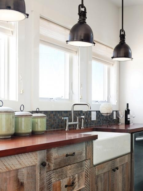 Old(reclaimed wood cabinets and farmhouse sink) New(