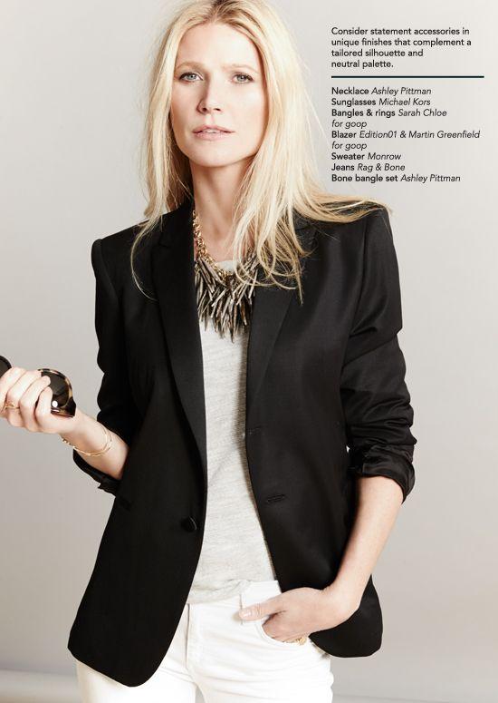 White denim, sweatshirt, black blazer, statement necklace