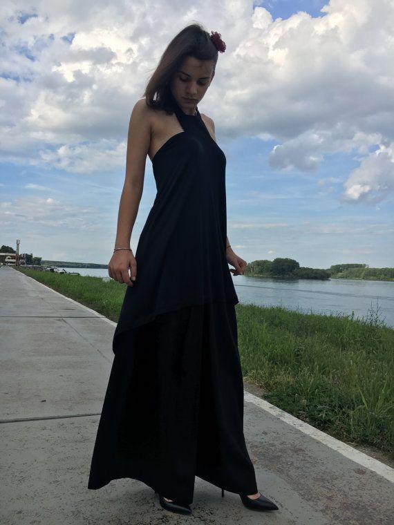 Halter Top Top baja alta, túnica de algodón, Maxi Top, túnica cóctel, Sexy túnica, larga túnica superior, vestido de túnica negra, túnica elegante