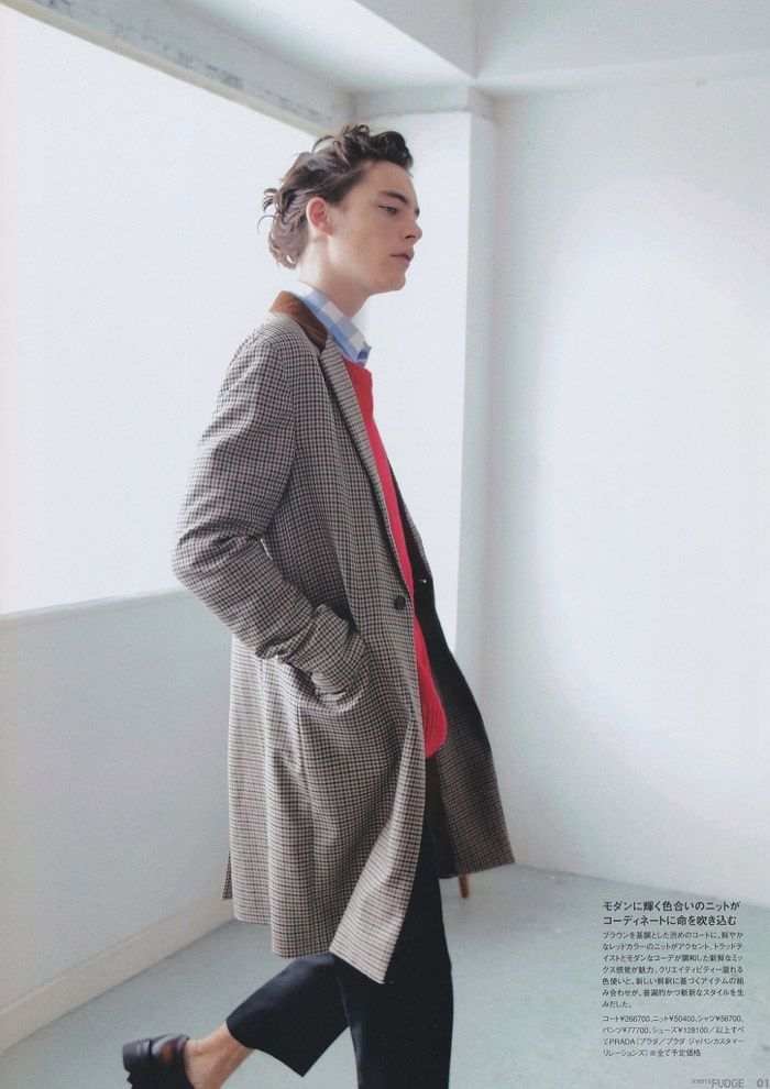 Jaco van den Hoven photographed by Sannomiya Motofumi and styled with Fall/Winter 2013 pieces from Prada, for the latest issue of Fudge magazine.
