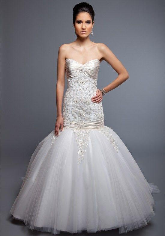 Ball Gown Sweetheart Tulle Satin Sweep wedding Dress Style Christina $318.99 Angel Rivera Wedding Dress