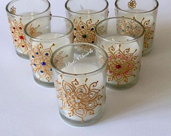 Set of 6, unscented glass votives/party favor/wedding favor/henna candle/wedding decor/henna design/diwali favors/henna votives