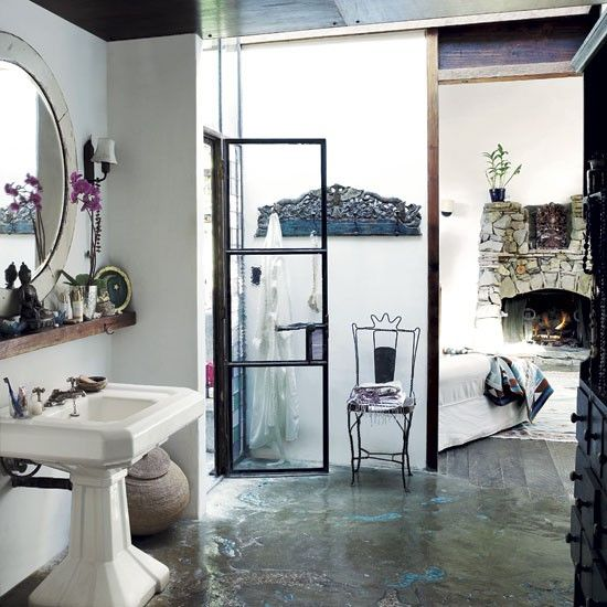 bathroom and concrete floor...: Interior Design, Patitz S Ranch, Tatjana Patitz S, Dream, Shower Doors, Interiors, Space