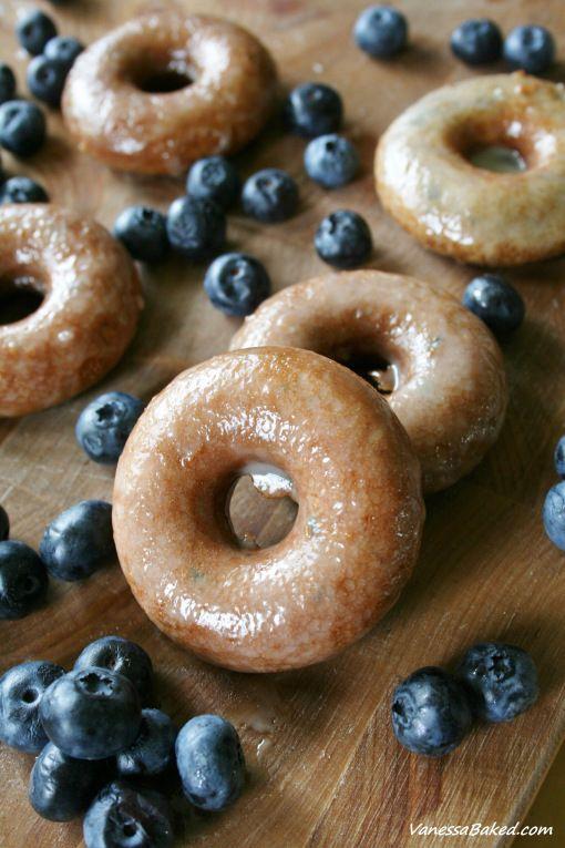 Baked Blueberry Donuts with Honey Glaze