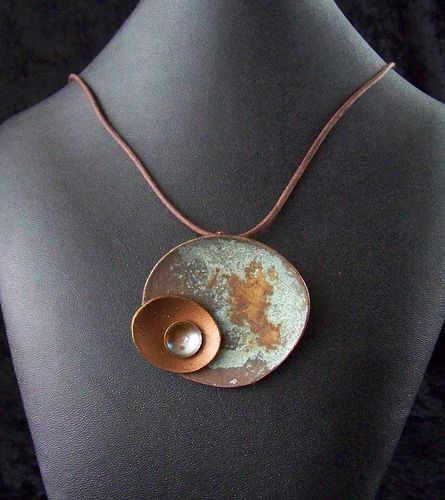 Christine Butler/Polygolems - New Metal Pendants 1 - metal surfacers on polymer, with flame-oxidized copper