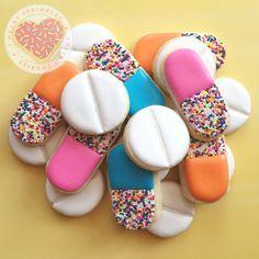 get well cookies, medicine cookies, pill cookies