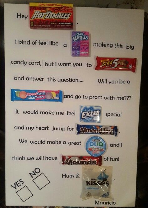 Ask someone to prom with a CANDY CARD | so craf T ...