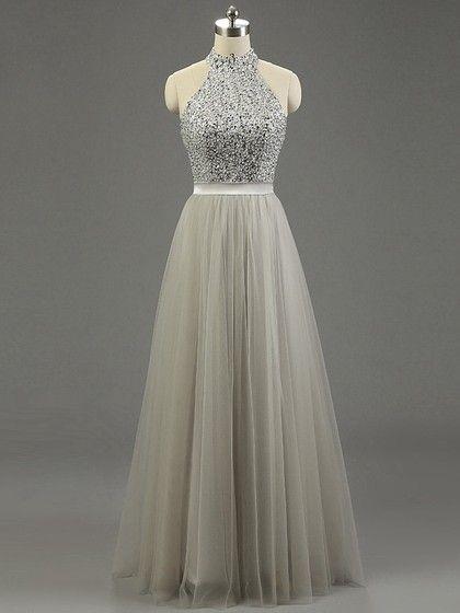 High Neck Gray Tulle Floor-length Beading Fashion Prom Dresses #UKM020101636