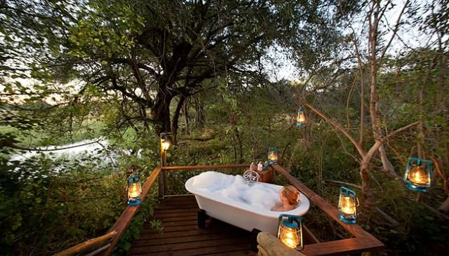 The above photograph says it all, a bath in a 100% natural enviroment, Pom Pom Camp in the Okavango Delta. http://www.uyaphi.com/showcase/best-baths-in-africa.htm