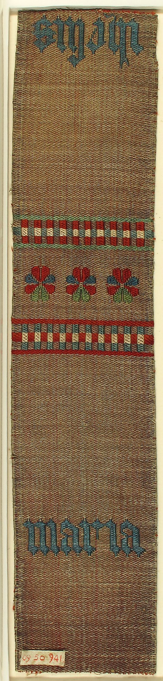 Textile Band Date: 15th century Geography: Made in Cologne, Germany Culture: German Medium: Silk, linen and metal thread Accession Number: 09.50.941