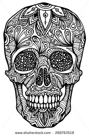 30 best images about color art therapy sugar skulls on for Sugar skull mandala coloring pages