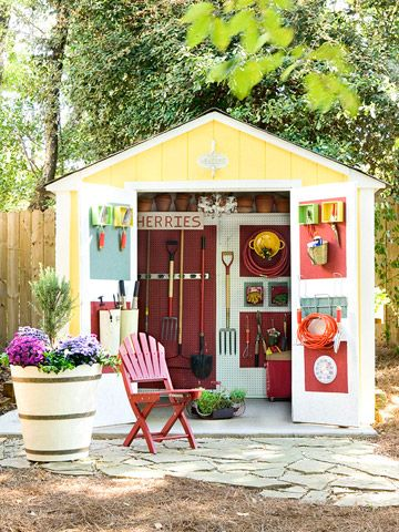 Vertical Storage Space When looking for storage space, don't overlook the backs of doors. Repeat the color block paint scheme of the shed's interior to line the inside door panels with tools. Add buckets on hooks and nail in boxes to keep garden tools such as pruners and trowels handy.