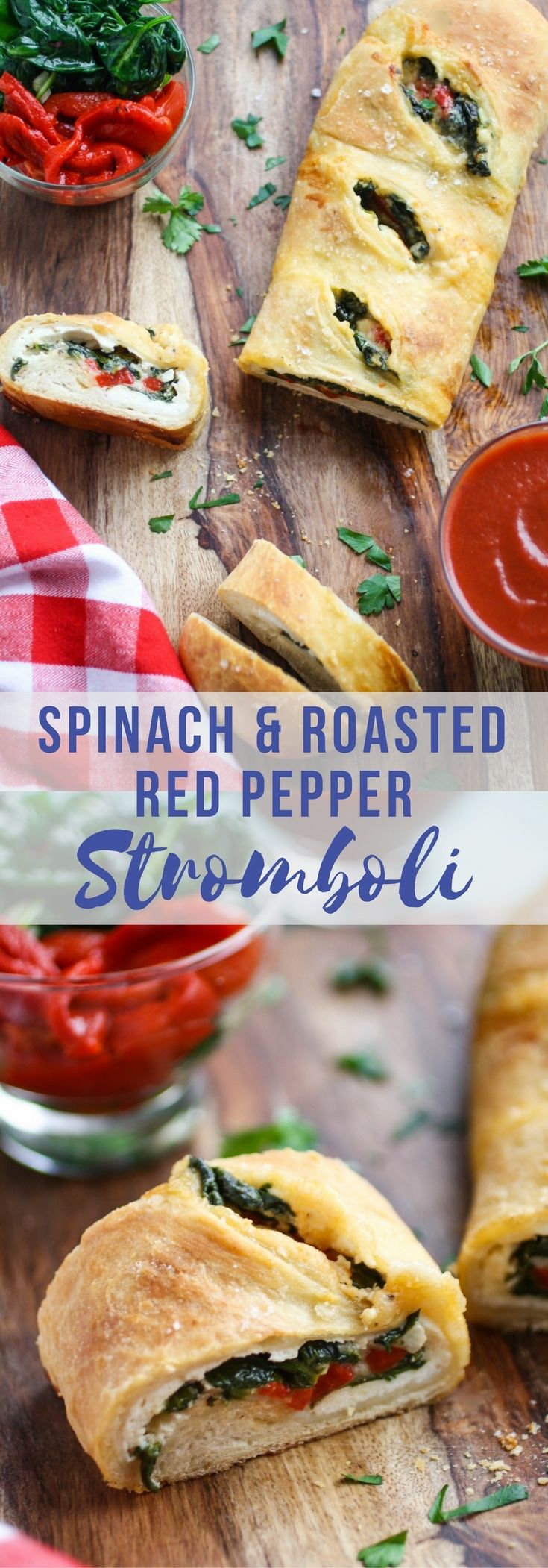 Spinach and Roasted Red Pepper Stromboli is a delicious dish, similar to pizza -- what a treat! Stromboli is perfect to serve at any gathering, or even on movie night!